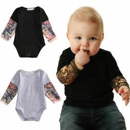 US Fashion Newborn Kids Baby Boys Bodysuit Romper Tops Jumps