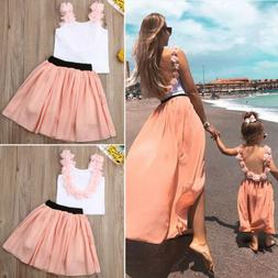 US Fashion Women Girls 2PCS Backless T-shirt +Skirt Parent-c