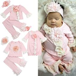 US Flower Newborn Baby Girl Lace Tops T-Shirt Long Pants/Swa