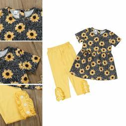 US Kid Baby Girls Short Sleeve Fashion Dress Tops+Pants Clot