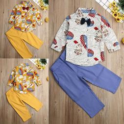 US Kids Baby Boys Outfits Set Long Sleeve Shirt Tops Pants W