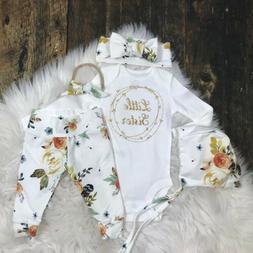 Little Sister Tops Romper Flower Leggings Clothes For Newbor