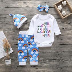 US Newborn Baby Boy Girl Rainbow Romper+Leggings Pants+Hat O