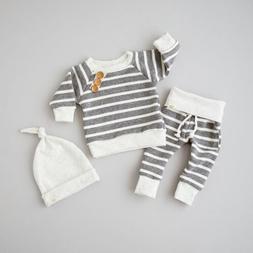 3pcs Newborn Baby Boy Girls Kids Infant tops pants Hat 3pcs