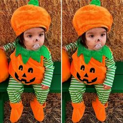 US Newborn Baby Girl Boy Halloween Clothes Set Pumpkin Costu
