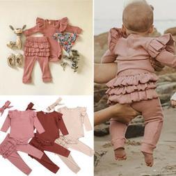 US Newborn Baby Girl Romper Bodysuit Frill Legging Pants Tro