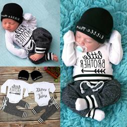 US Newborn Infant Baby Boy Little Brother Long Sleeve Romper