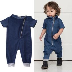 US Toddler Baby Boy Denim Short Sleeve Romper Jumpsuit One P