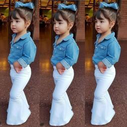US Toddler Infant Baby Girl Denim Top T-shirt+Loose Leggings