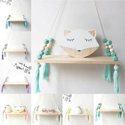 US Wall Hanging Shelf Wood Rope Swing Shelves Baby Kids Room
