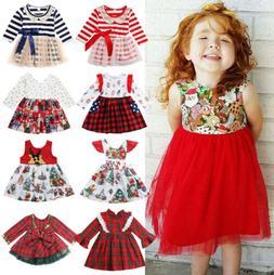 Christmas Baby Toddler Kids Girls Festival Santa Party Dress