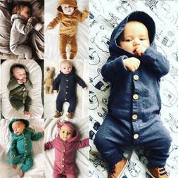 USStock Winter Infant Baby Boy Girl Cotton Hooded Romper Jum