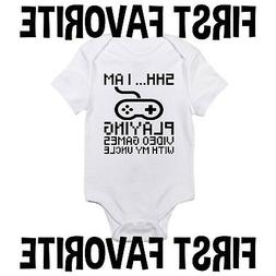 Video Games With My Uncle Baby Onesie Shirt Shower Gift Newb