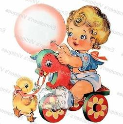 Vintage Image Retro Nursery Baby Toddler On Toy Horse Waters