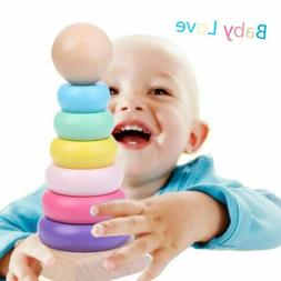 Warm Color Rainbow Stacking Ring Tower Tapering Blocks Wood