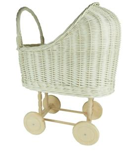 Wiklibox wicker wood dolls pram ECRU creamy color baby walke