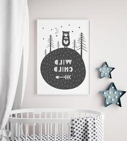Wild Child Scandi Style Nursery Print / Picture For Boys Roo