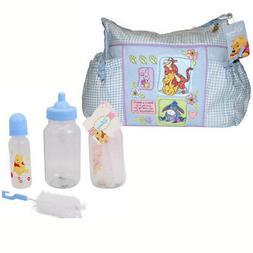 Disney Winnie Pooh Diaper Bag + 3 pc Baby Gift Set 9 oz Bott