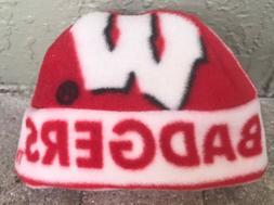 Wisconsin Badgers Fleece Hat - Handmade sizes Newborn, Child