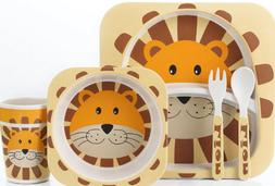 Lekoch WOOD 5pcs/set animal zoo BABY Plate bow cup Forks Din