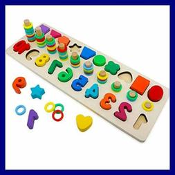 Wood Blocks Puzzles Kids Toys For Toddlers Preschool Teachin