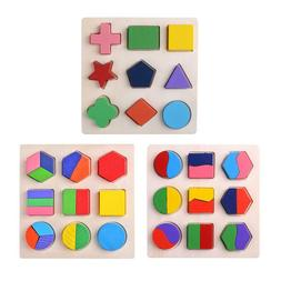 Wood Geometric Shapes Sorting Math Montessori Puzzle Kids Ed
