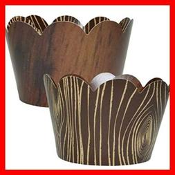 Wood Grain Cupcake Wrappers 36 Wild One Woodland Animal Baby