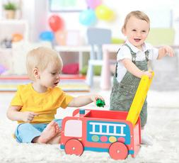 Wood Infant Red Learning Walker Stand Toy Baby Roll Cart Pus