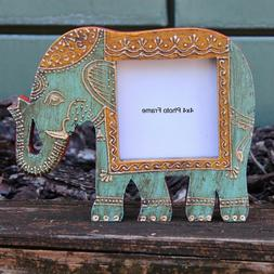 Wood Photo Frame Baby Elephant shape 4x4 Rustic Picture Fram