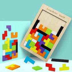 Wood Puzzle  UK Baby Toddler Montessori Tetris Brain Teaser