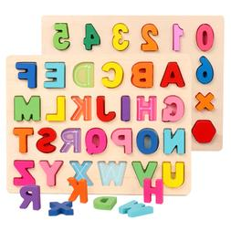 Wooden Alphabet Number Puzzle Board Toddler Educational Earl