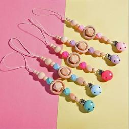 Wooden Baby Pacifier Chain dummy Holder Clip Baby Feeding Te
