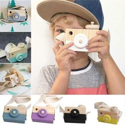 Wooden Camera Kids Toy Baby Gift Children Wood Neck Decor Ro