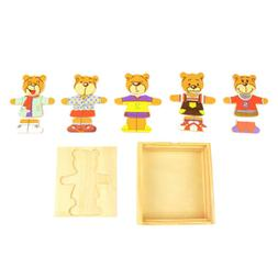 Wooden Dress Up Bear Puzzle Toys Pretend Play Set, Kids Todd