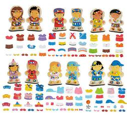 Wooden Dress-Up Doll Lacing Beads Pretend Play Set for Kids