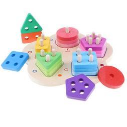 wooden geometry educational stacking sorting puzzles develop