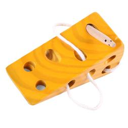 Wooden Montessori Toys for Kids Cheese Maze Lacing Game Educ
