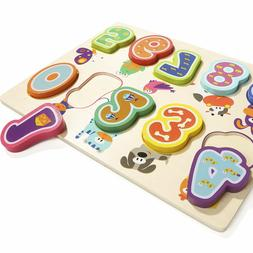 Wooden Number Puzzles for 1 Year Old Girl & Boy Gifts Learni