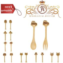 Wooden Spoon And Fork Set With Pine Wood And Polyurethane Co