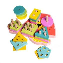 wooden stacking sorting puzzles toy for toddlers