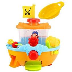 Zooawa Bath Toys Pirate Ship Toy, Squirt Water Boat For Todd