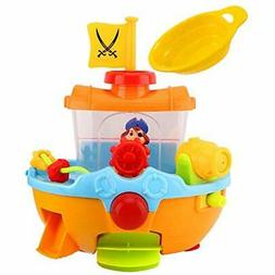 Zooawa Pirate Bath Toys Ship Toy, Squirt Water Boat For Todd